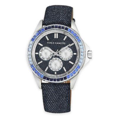 Vince Camuto® Ladies' Swarovski-Accent Multi-Function Watch in Stainless Steel w/Denim Strap