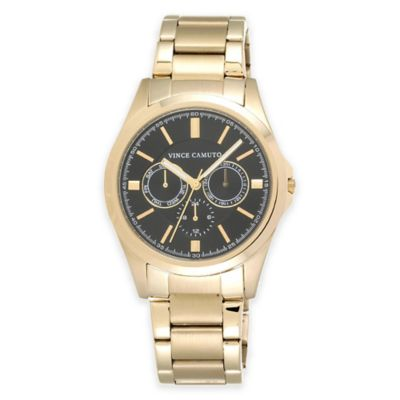 Vince Camuto® Men's 42mm Multi-Function in Goldtone Stainless Steel with Black Dial