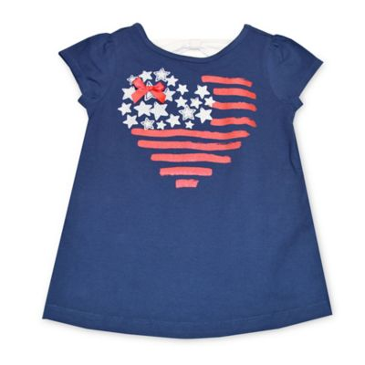 Kidtopia Size 3M Flutter Sleeve Stars & Stripes Heart Print T-Shirt in Navy