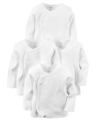 carter's® Size 6M 4-Pack Long Sleeve Side-Snap T-Shirts in White