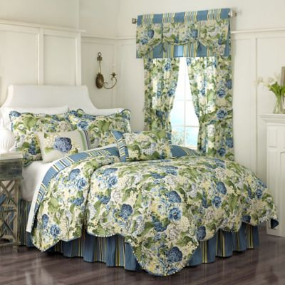 Waverly® Floral Flourish Reversible King Quilt Set in Porcelain