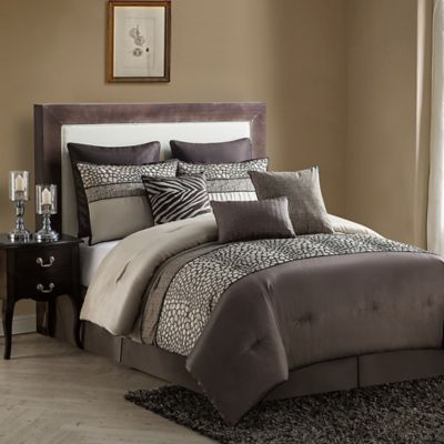 VCNY Mali 9-Piece Full Comforter Set in Brown