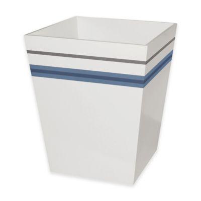 White Stripe Wastebasket