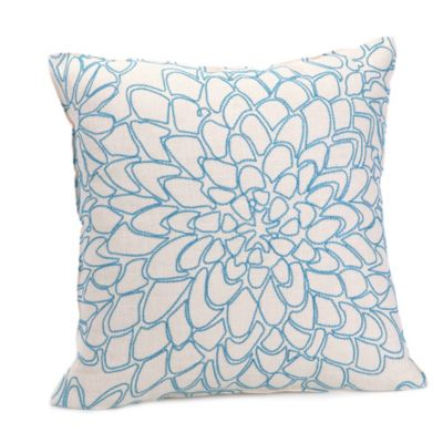 Trina Turk® Catalina Paisley Chain Stitch Floral Square Throw Pillow in Aqua