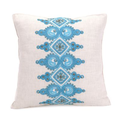 Trina Turk® Catalina Paisley Embellished Band Square Throw Pillow in Aqua