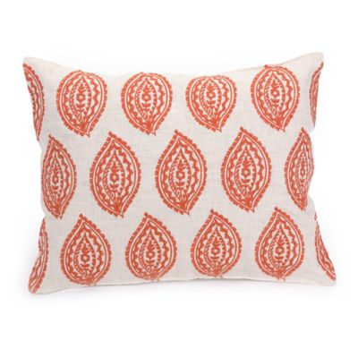 Trina Turk® Catalina Paisley Embroidered Stamp Oblong Throw Pillow in Coral