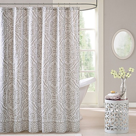 Intelligent design nessa shower curtain in grey bed bath - Intelligent shower ...