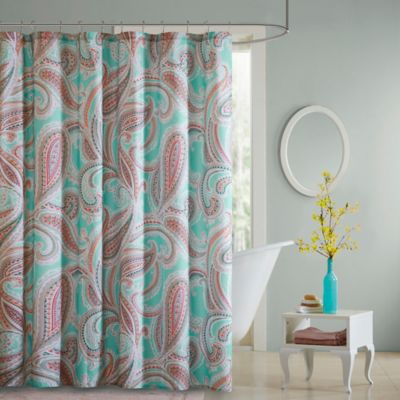 Intelligent Design Paola Shower Curtain in Aqua