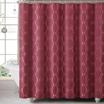 Grayson Jacquard Shower Curtain and Hook Set in Burgundy