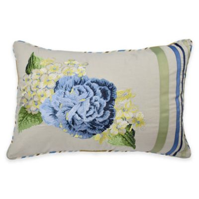 Waverly® Floral Flourish Embroidered Oblong Throw Pillow in Porcelain