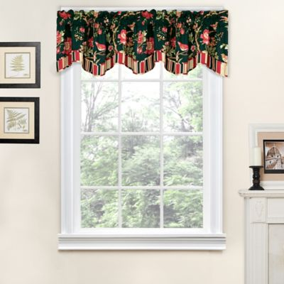 Waverly® Charleston Chirp Noir Scalloped Window Valance