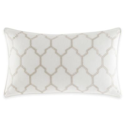 Nautica Sandy Creek Embroidered Oblong Throw Pillow in White - Bed Bath & Beyond