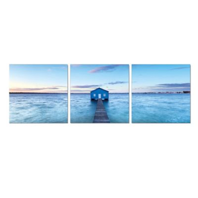 Elementem Photography Boathouse on the River 3-Panel Photographic Triptych Wall Art