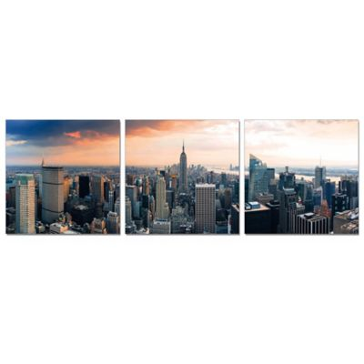 Elementem Photography Empire State at Sunset 3-Panel Photographic Triptych Wall Art