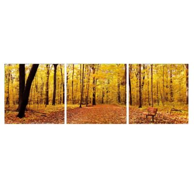 Elementem Photography Bench in the Park 3-Panel Photographic Triptych Wall Art