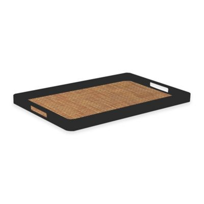 Kraftware™ Woven Sienna Handled Serving Tray in Black