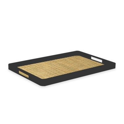 Kraftware™ Woven Straw Handled Serving Tray in Black