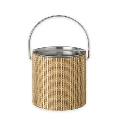 Kraftware™ Woven Straw Ice Bucket with Metal Bar Lid