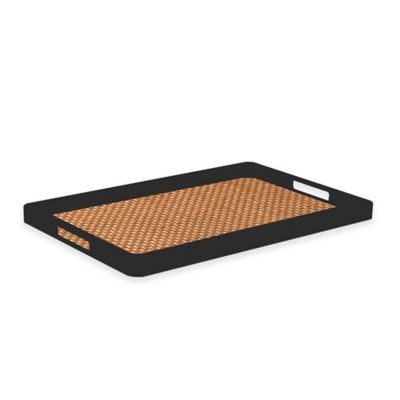 Kraftware™ Woven Topaz Handled Serving Tray in Black