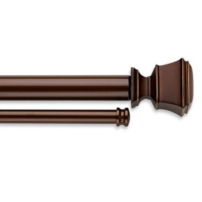 Cambria® Connections 28- to 48-Inch Adjustable Double Window Curtain Rod in Matte Brown