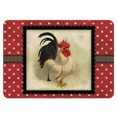 Weather Guard™ Rooster 18-Inch x 27-Inch Kitchen Mat in Cream/Black