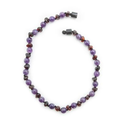 Healing Hazel Baltic Amber and Amethyst 11-Inch Baby Necklace