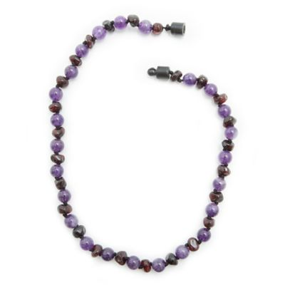 Healing Hazel Baltic Amber and Amethyst 12.5-Inch Baby Necklace
