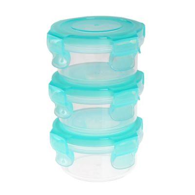 Innobaby Preppin SMART™ EZ lock 3-Piece 3 oz. Round Food Storage Containers in Green