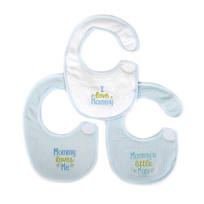 "Hamco ""Mommy Loves Me"" 3-Pack Newborn Bibs in Blue/White"