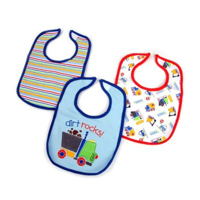 Hamco Dirt Rocks 3-Pack Water-Resistant Infant Bib in Blue/Multi