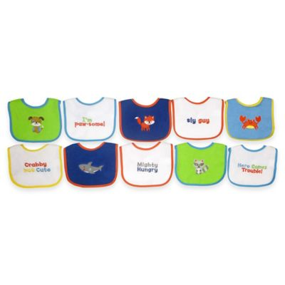 Hamco 10-Pack of Waterproof Multicolored Boy Bibs