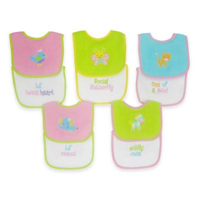 Hamco 10-Pack of Waterproof Multicolored Girl Bibs