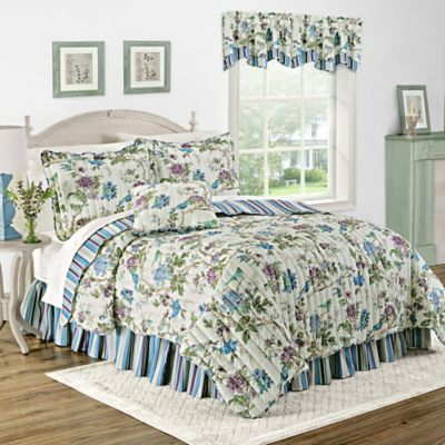 Waverly® Charleston Chirp Larkspur Reversible Twin Quilt Set