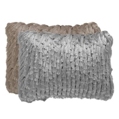 Safavieh Tassel Shag Rectangular Decorative Throw Pillow in Platinum
