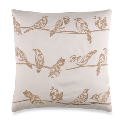 Birds On A Wire Toss Pillow in Taupe