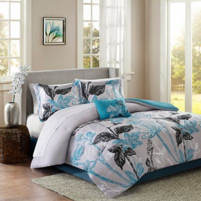 Madison Park Claremont 9-Piece Reversible California King Comforter Set in Aqua