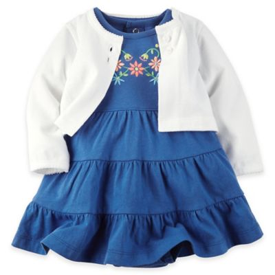 carter's Newborn 2-Piece Tiered Embroidered Bodysuit Dress and Cardigan Set in Blue/White