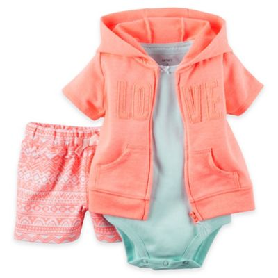 "carter's® Size 6M 3-Piece Short Sleeve French Terry ""Love"" Hoodie, Bodysuit, and Short Set"