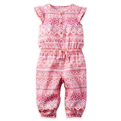 carter's® Size 18M Tribal Print Flutter Sleeve Coverall in Pink