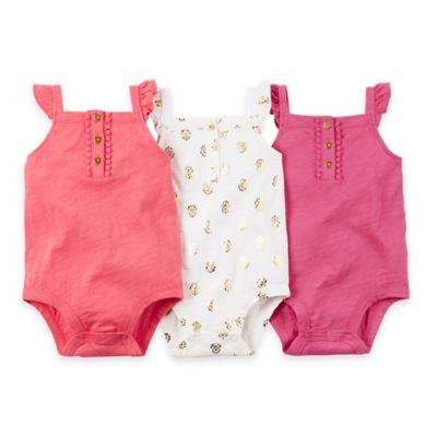 carter's® Size 18M 3-Pack Flutter Sleeve Bodysuits in Pink