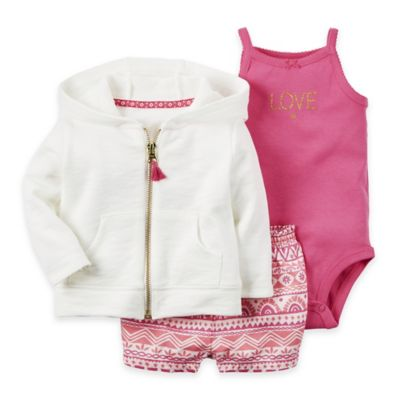 "carter's® Size 3M 3-Piece ""Love"" Cardigan, Bodysuit, and Short Set in Pink/White"