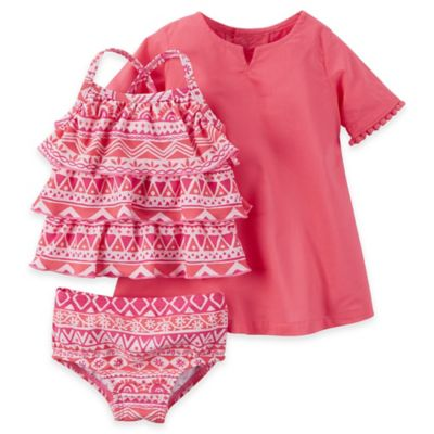 carter's® Newborn 3-Piece Tribal Print Tankini Swimsuit and Cover-Up Set in Pink