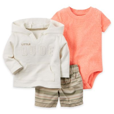 "carter's® Newborn 3-Piece ""Little Dude"" Cardigan, Bodysuit, and Short Set in Ivory/Red"