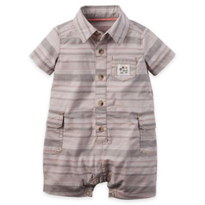 carter's® Size 6M Button-Front Stripe Romper in Khaki