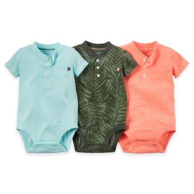 carter's® Newborn 3-Pack Short-Sleeve Bodysuits in Green/Blue/Pink