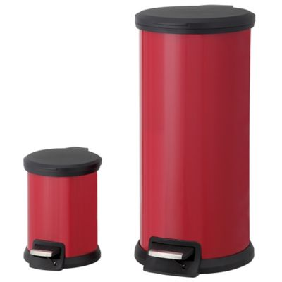 SALT 30-Liter and 5-Liter Round Pedal Bin Combo Set in Red