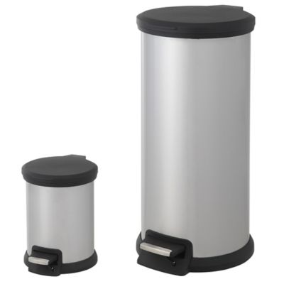 SALT 30-Liter and 5-Liter Round Pedal Bin Combo Set in Stainless Steel