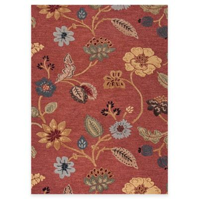 Jaipur Blue Collection Floral 9-Foot x 12-Foot Area Rug in Red Multi