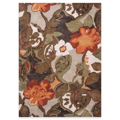 Jaipur Blue Collection Floral 6-Foot Square Area Rug in Brown/Orange