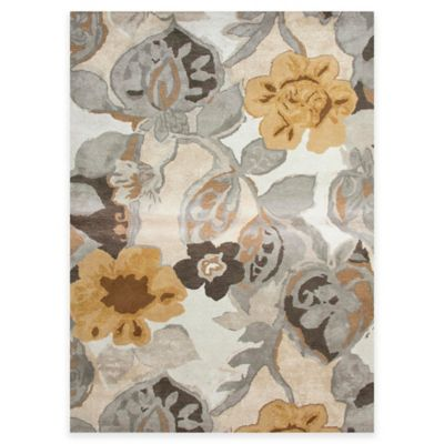 Jaipur Blue Collection Floral 2-Foot x 3-Foot Accent Rug in Ivory/Yellow